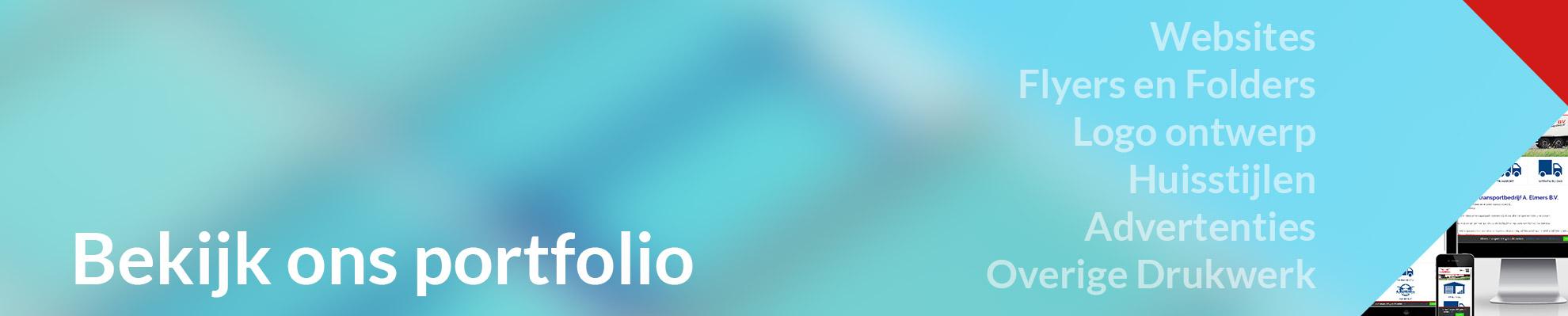Bekijk ons portfolio: website's, flyers en folders, logo ontwerp, huisstijlen, advertenties en overi